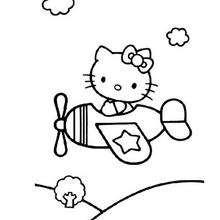 Desenho da Hello Kitty no avião para colorir