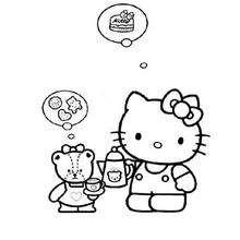 Desenho da Hello Kitty sonhando com comida para colorir