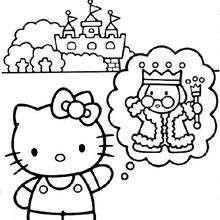Desenho da Hello Kitty, do Rei e do castelo para colorir