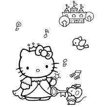 Desenho da Hello Kitty ouvindo música para colorir