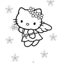 Desenho da Hello Kitty de anjinho para colorir
