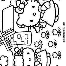 Desenho da Hello Kitty colhendo flores para colorir