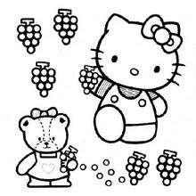Desenho da Hello Kitty colhendo uvas para colorir