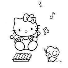Desenho da Hello Kitty tocando Xilofone para colorir