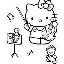 Desenhos Para Colorir De Desenho Da Hello Kitty Tocando Violino