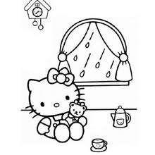 Desenho da Hello Kitty brincando com sua boneca para colorir
