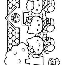 Desenho da casa da Hello Kitty para colorir