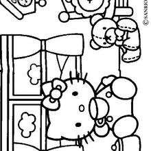 Desenho da Hello Kitty tomando seu chá para colorir