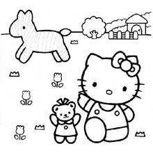 Desenho da Hello Kitty de fazendeira para colorir