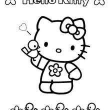 Desenho da Hello Kitty com um passarinho para colorir
