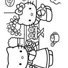 Desenho da Hello Kitty com sua mamãe para colorir