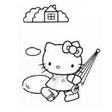 Desenho da Hello Kitty com seu guarda chuva para colorir