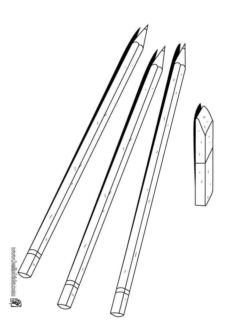 Desenho de Lápis e borracha para colorir