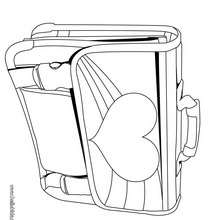 Desenho de uma mochila de menina para colorir