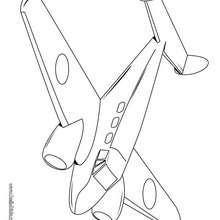 Desenho de um pequeno Avião voando para colorir