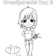Desenho do Feliz dia dos avós para colorir