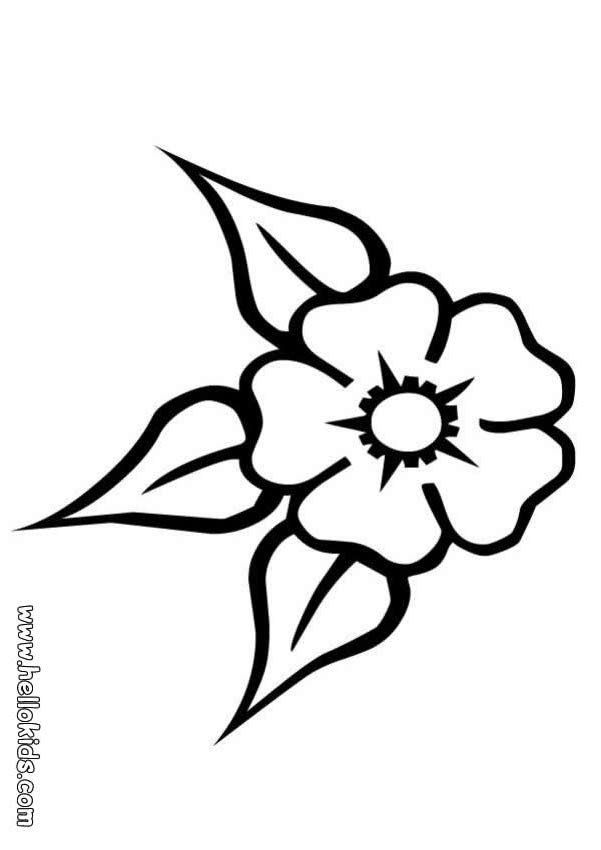 Desenho De Uma Flor   Tr  S Folhas Para Colorir