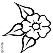 Desenho de uma flor com três folhas para colorir