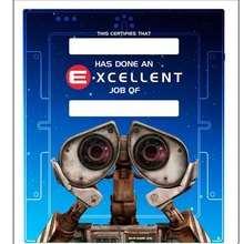WALL E : Certificado de bom trabalho