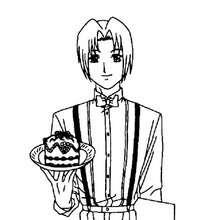 Desenho Akasaka Keiichiro com um bolo para colorir