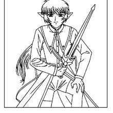 Desenho de um alienígena com sua espada para colorir