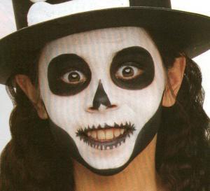 Artes manuais de pintura facial de caveira do dia das - Pintura cara halloween ...