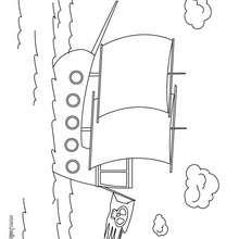 Desenho de um pirata com seu barco para colorir