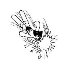 Desenho para colorir do Astro Boy lutando no ar