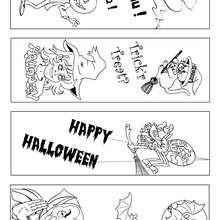 Marcador de página do Dia das Bruxas para colorir