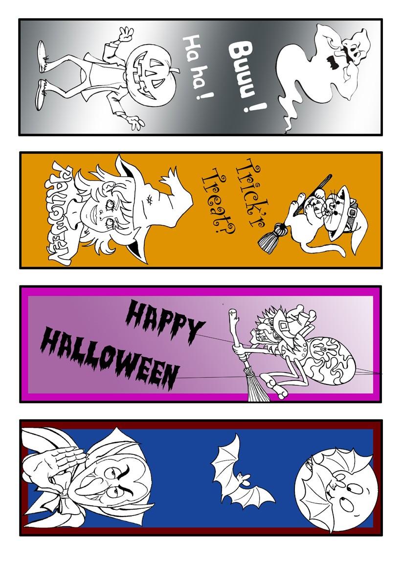 Marcadores de página do Dia das Bruxas coloridos pela metade