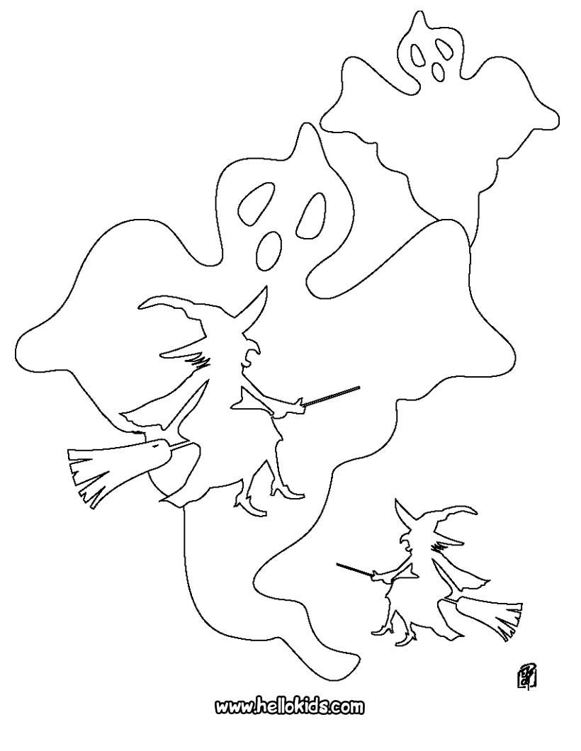 Desenhos Para Colorir De Desenho De Uma Bruxa E De Um Fantasma Do