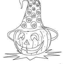 Desenho de uma abóbora com chapél de bruxa para colorir