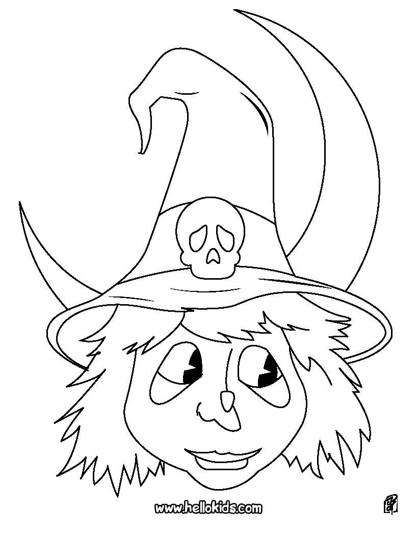 Desenho do retrato de uma bruxa para colorir