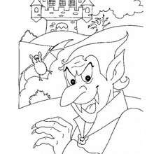 Desenho do Drácula no seu castelo mal assombrado para colorir