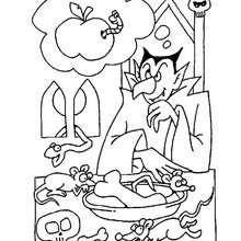 Desenho do jantar do Drácula no Dia das Bruxas para colorir