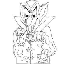Desenho do Drácula com uma cobra para colorir