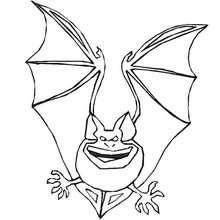 Desenho de um morcego voando no Dia das Bruxas para colorir