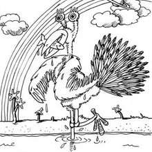 Desenho de um pássaro mostro para colorir