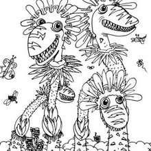 Desenho de árvores monstros para colorir