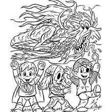 Desenho de um dragão do Dia das Bruxas com crianças para colorir