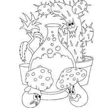 Desenho de uma poção mágica com plantas carnívoras para colorir