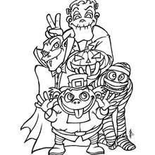 Desenho de Monstros felizes do Dia das Bruxas para colorir