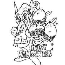 Desenho de um duende do Halloween para colorir