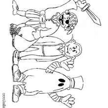 Desenho de crianças com fantasias do Dia das Bruxas para colorir