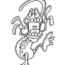 Desenho de um Montro-cobra para colorir