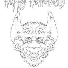 Desenho de um lobisomem no Dia das Bruxas para colorir