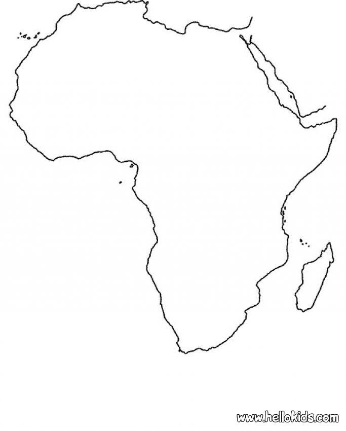 O mapa da África para colorir