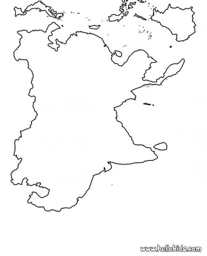 O mapa da Ásia para colorir