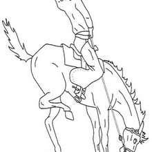 Desenho de um Cavalo com seu Cowboy para colorir