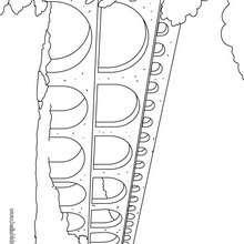 Desenho da A ponte do Gard, aqueduto romano para colorir